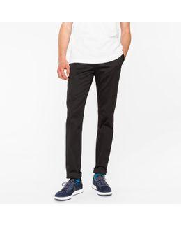 Men's Slim-fit Black Cotton-twill Stretch Chinos