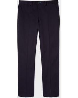 Men's Standard-fit Navy Cotton-twill Stretch Chinos