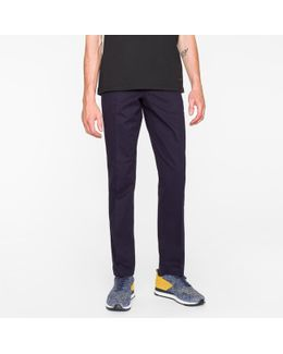 Men's Mid-fit Navy Stretch-cotton Chinos