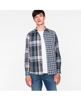 Men's Grey Mixed-fabric Check Shirt