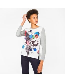 Women's Grey Long-sleeve T-shirt With 'abstract Floral' Print
