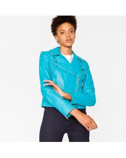 Women's Turquoise Leather Biker Jacket