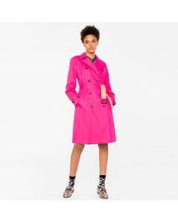 Women's Pink Cotton-twill Trench Coat With Camel Contrasts