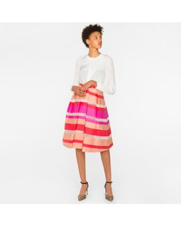 Women's Coral And Pink Sheer-stripe Skirt