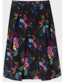 Women's Navy Silk Skirt With 'ocean Floral' Print
