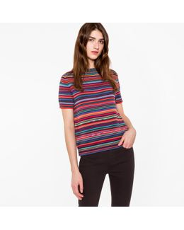 Women's Striped Merino Wool And Cotton Knitted Top