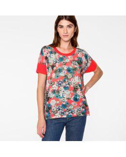 Women's Coral 'ocean Floral' Print Knitted Wool Top