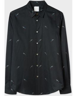 Men's Slim-fit Black 'bird' Print Shirt