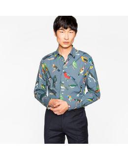 Men's Slim-fit Grey 'birds' Print Cotton Shirt