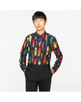Men's Slim-fit Black 'feather' Print Cotton Shirt