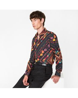 Men's Slim-fit 'vintage' Print Cotton Shirt