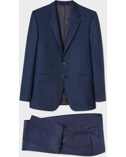 The Byard - Men's Tailored-fit Navy Tonal Check Wool Suit