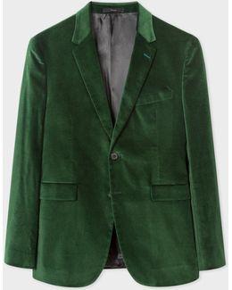 Men's Slim-fit Dark Green Velvet Blazer