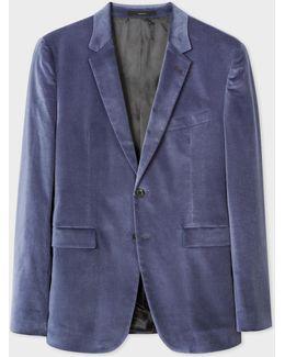 Men's Slim-fit Sky Blue Velvet Blazer