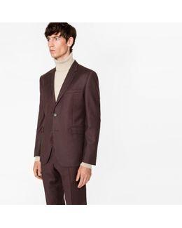 Men's Slim-fit Brown Wool-cashmere Blazer