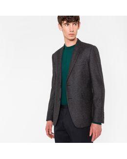 Men's Slim-fit Grey Flecked Birdseye Wool-silk Blazer
