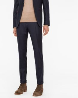 Men's Slim-fit Dark Navy Wool-cashmere Trousers