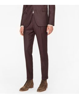 Men's Slim-fit Brown Wool-cashmere Trousers