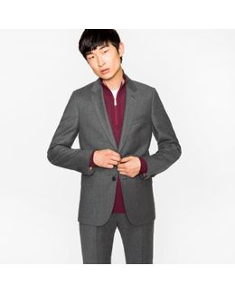 Men's Tailored-fit Grey Marl Wool-cashmere Blazer