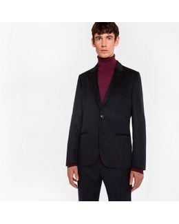 Men's Tailored-fit Black Unlined Cashmere Blazer