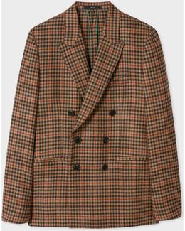 Men's Tailored-fit Brown Check Double-breasted Wool-cashmere Blazer