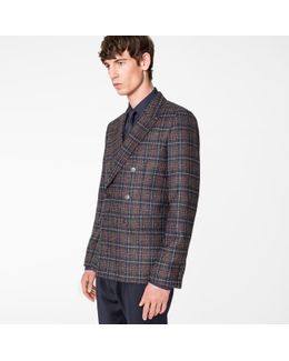 Men's Tailored-fit Navy And Burgundy Check Wool-blend Double Breasted Blazer