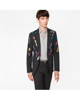 Men's Tailored-fit Black Embroidered 'feather' Stretch-wool Blazer