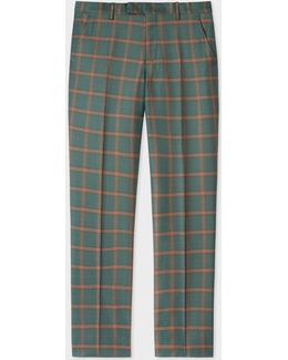 Men's Green And Rust Check Wool-cashmere Trousers
