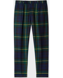 Men's Tapered-fit Black Watch Check Wool Trousers