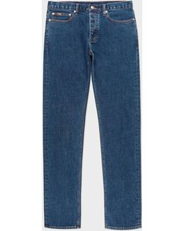 Men's Slim-fit Mid-wash Jeans With 'artist Stripe' Selvedge