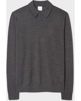 Men's Grey-marl Merino Wool Long-sleeve Polo Shirt