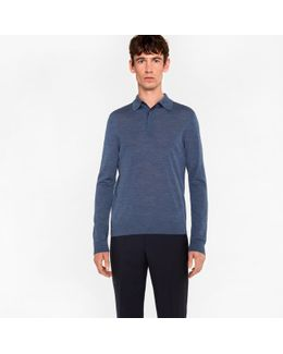 Men's Blue-marl Merino Wool Long-sleeve Polo Shirt