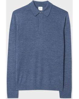 Men's Blue-marl Merino Wool Long-sleeve Polo Shirt