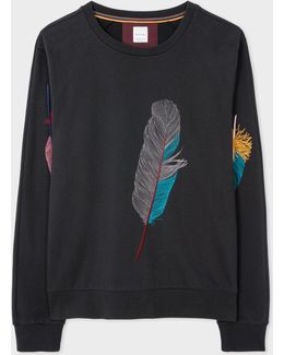 Men's Black Loopback-cotton 'feather' Embroidered Sweatshirt