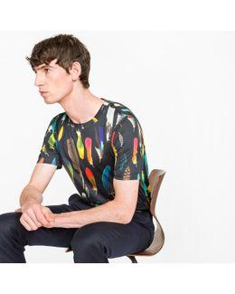Men's Slim-fit Black 'feather' Print T-shirt