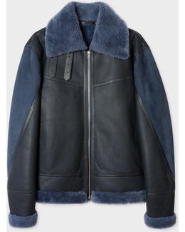 Men's Blue Shearling And Lamb Leather Jacket