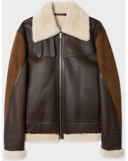 Men's Brown Shearling And Lamb Leather Jacket