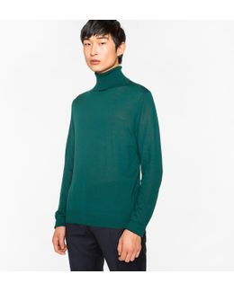 Men's Dark Green Merino Wool Roll Neck Sweater
