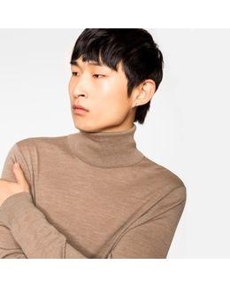 Men's Chestnut Merino Wool Roll Neck Sweater