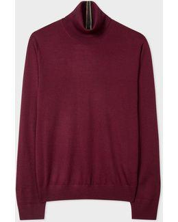 Men's Burgundy Merino Wool Roll Neck Sweater