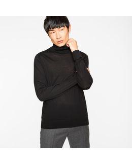Men's Black Merino Wool Roll Neck Sweater