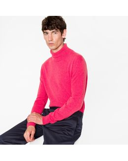Men's Pink Cashmere Roll Neck Sweater