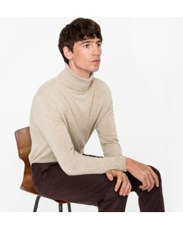Men's Oatmeal Cashmere Roll Neck Sweater