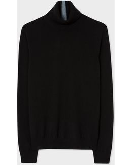 Men's Black Cashmere Roll Neck Sweater