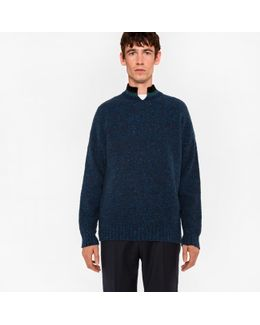 Men's Nepped Navy Wool Sweater
