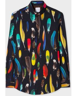 Men's Tailored-fit Black 'feather' Print Penny Collar Shirt