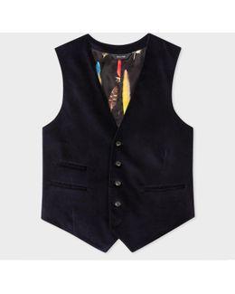 Men's Slim-fit Navy Velvet Waistcoat