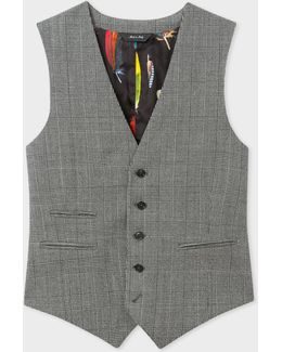 Men's Slim-fit Grey Check Wool Waistcoat