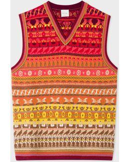 Men's Multi-coloured Fair Isle V-neck Wool-blend Tank Top