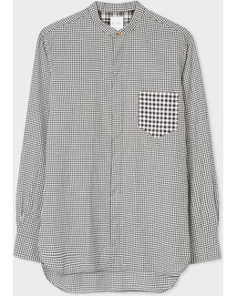 Men's Black And White Gingham Check Band-collar Cotton Shirt